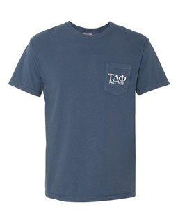 Tau Delta Phi Greek Letter Comfort Colors Pocket Tee