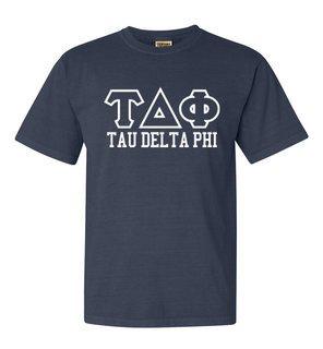 Tau Delta Phi Greek Outline Comfort Colors Heavyweight T-Shirt