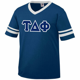 DISCOUNT-Tau Delta Phi Jersey With Greek Applique Letters