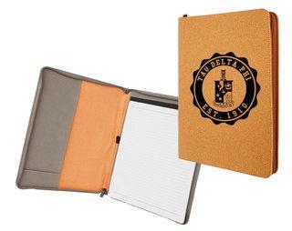 Tau Delta Phi Leatherette Zipper Portfolio with Notepad