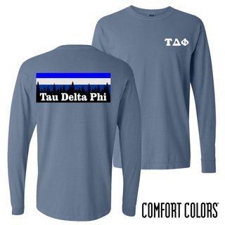 Tau Delta Phi Outdoor Long Sleeve T-shirt - Comfort Colors