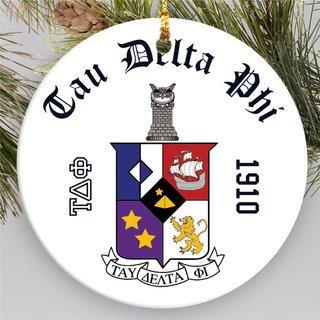 Tau Delta Phi Round Christmas Shield Ornament