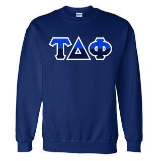 Tau Delta Phi Two Tone Greek Lettered Crewneck Sweatshirt