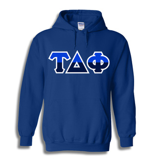 Tau Delta Phi Two Tone Greek Lettered Hooded Sweatshirt