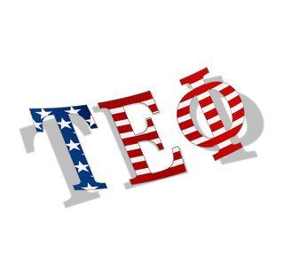 "Tau Epsilon Phi American Flag Greek Letter Sticker - 2.5"" Tall"