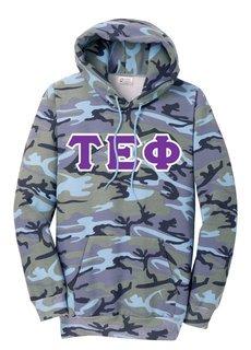 DISCOUNT-Tau Epsilon Phi Camo Pullover Hooded Sweatshirt