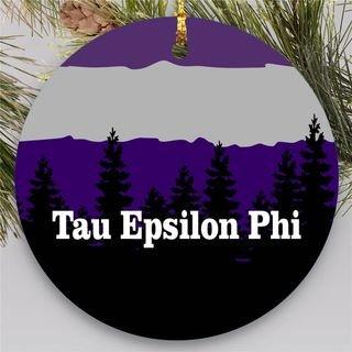 Tau Epsilon Phi Christmas Mountains Round Ornaments