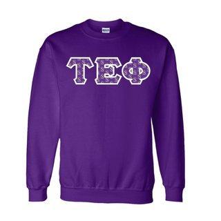Tau Epsilon Phi Fraternity Crest - Shield Twill Letter Crewneck Sweatshirt