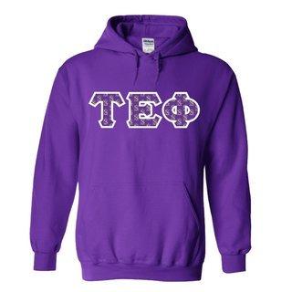 Tau Epsilon Phi Fraternity Crest - Shield Twill Letter Hooded Sweatshirt