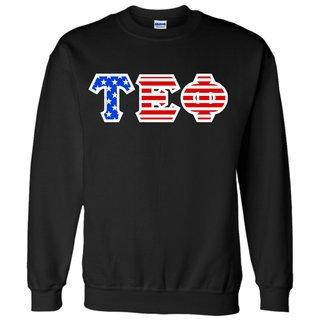 Tau Epsilon Phi Greek Letter American Flag Crewneck