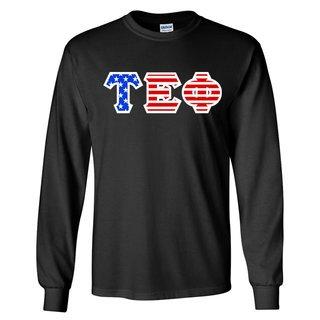 Tau Epsilon Phi Greek Letter American Flag long sleeve tee