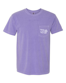Tau Epsilon Phi Greek Letter Comfort Colors Pocket Tee