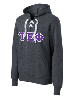 DISCOUNT-Tau Epsilon Phi Lace Up Pullover Hooded Sweatshirt