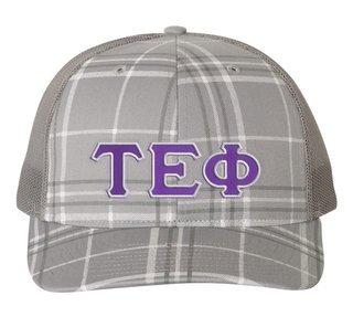 Tau Epsilon Phi Plaid Snapback Trucker Hat - CLOSEOUT