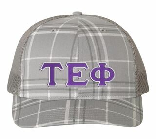 Tau Epsilon Phi Plaid Snapback Trucker Hat