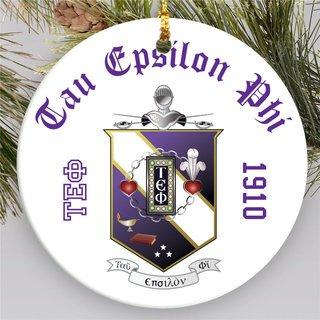 Tau Epsilon Phi Round Christmas Shield Ornament