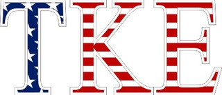 "Tau Kappa Epsilon American Flag Greek Letter Sticker - 2.5"" Tall"
