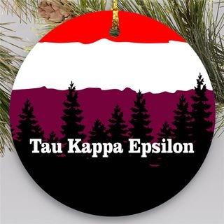 Tau Kappa Epsilon Christmas Mountains Round Ornaments