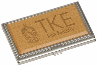Tau Kappa Epsilon Crest Wood Business Card Holder
