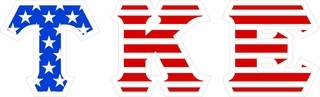 "Tau Kappa Epsilon Giant 4"" American Flag Greek Letter Sticker"