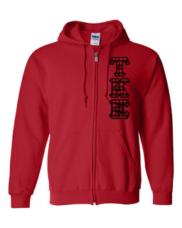 "Tau Kappa Epsilon Heavy Full-Zip Hooded Sweatshirt - 3"" Letters!"