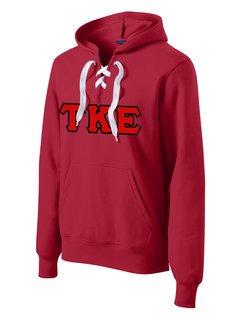 DISCOUNT-Tau Kappa Epsilon Lace Up Pullover Hooded Sweatshirt