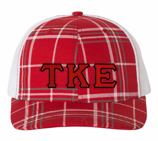 Tau Kappa Epsilon Plaid Snapback Trucker Hat - CLOSEOUT