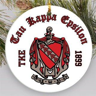 Tau Kappa Epsilon Round Christmas Shield Ornament