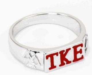Tau Kappa Epsilon Sterling Silver Flat Top Ring (Red)