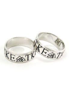 Tau Kappa Epsilon sterling silver ring with black enamel