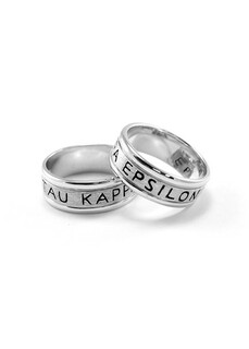 Tau Kappa Epsilon Sterling Silver Ring with Enamel-filled TKE