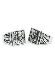 Tau Kappa Epsilon Sterling Silver Skull Ring