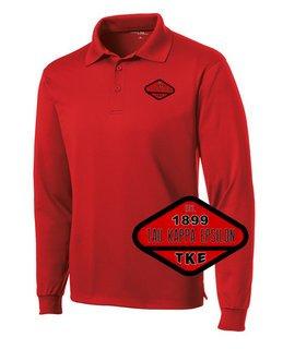 DISCOUNT-Tau Kappa Epsilon Woven Emblem Greek Long Sleeve Dry Fit Polo