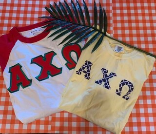 The New Super Savings - Alpha Chi Omega Two Tee Set - WHITE AND YELOW