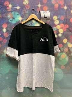 The New Super Savings - Alpha Gamma Delta Colorblocking Tee - BLACK AND WHITE