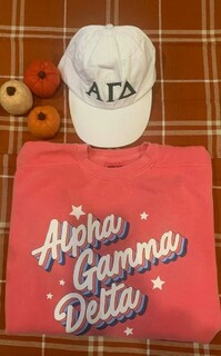 The New Super Savings - Alpha Gamma Delta Comfort Colors Crewneck and Baseball Hat Set - WATERMELON AND WHITE