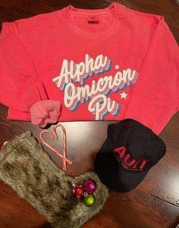The New Super Savings - Alpha Omicron Pi Comfort Colors Crewneck and Baseball Hat - WATERMELON AND BLACK