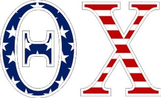 "Theta Chi American Flag Greek Letter Sticker - 2.5"" Tall"