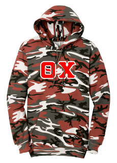 DISCOUNT-Theta Chi Camo Pullover Hooded Sweatshirt