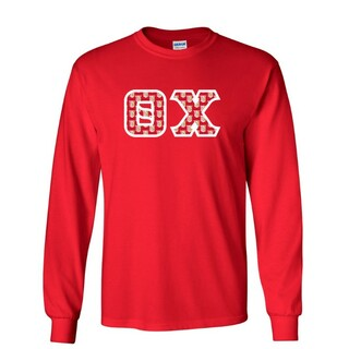 Theta Chi Fraternity Crest - Shield Twill Letter Longsleeve Tee