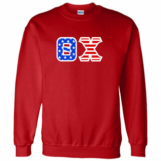 DISCOUNT-Theta Chi Greek Letter American Flag Crewneck