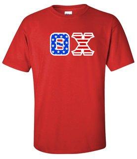 DISCOUNT-Theta Chi Greek Letter American Flag Tee