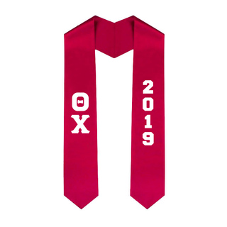 Theta Chi Greek Lettered Graduation Sash Stole With Year - Best Value