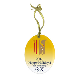 Theta Chi Holiday Color Crest Glass Ornament