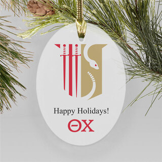 Theta Chi Holiday Color Crest - Shield Ornament