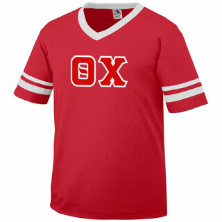 DISCOUNT-Theta Chi Jersey With Greek Applique Letters