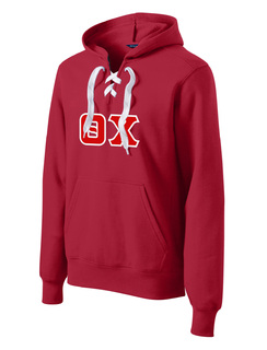 DISCOUNT-Theta Chi Lace Up Pullover Hooded Sweatshirt