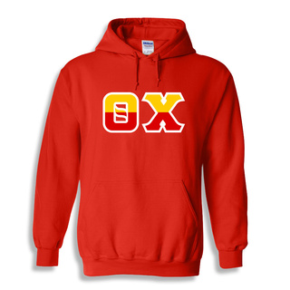 Theta Chi Two Tone Greek Lettered Hooded Sweatshirt