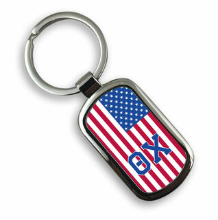 Theta Chi USA Flag Rectangle Key Ring