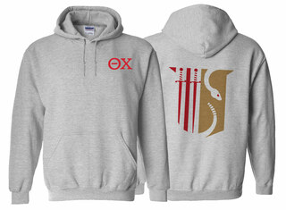 Theta Chi World Famous Crest - Shield Printed Hooded Sweatshirt- $35!